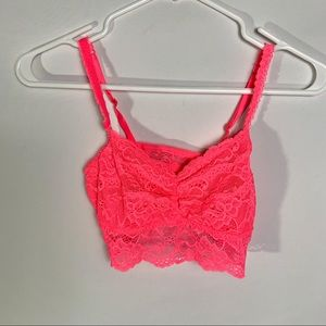 Victoria secret PINK small hot pink lace bralette